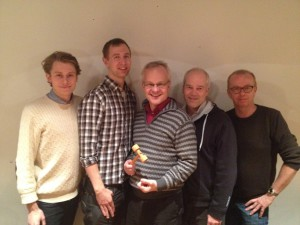 Christian Kollberg, Erik Mattsson, Fredrik Brandhorst, Leif Lundin och Stefan Ljungdahl. Hasse Holmberg och Jan Glevén saknas på bilden.